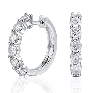 Platinum Plated Sterling Silver 1 8ctw 3 5mm HI Color Moissanite Simulated  Diamond hoop Earrings for Women