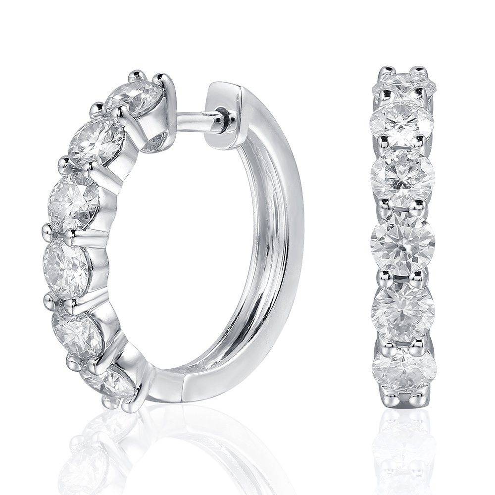 Platinum Plated Sterling Silver 1.2ctw 3mm HI Color Moissanite Simulated Diamond hoop Earrings for Women