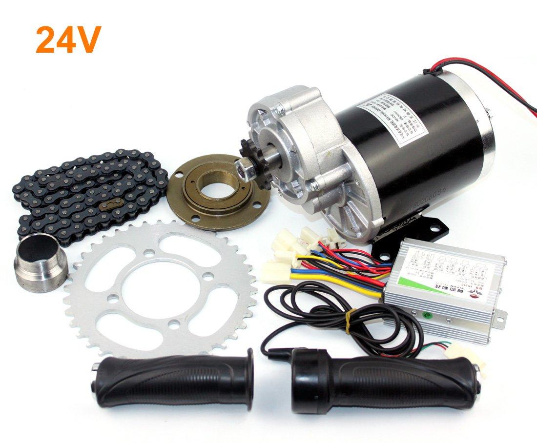 24v36v48v 450ワット電気rickshaエンジンキット3輪自転車電気モーターキットdiy電動輪タクブラシ付きdcモータでギアボックス B07CQVQYR4 24V normal kit 24V normal kit
