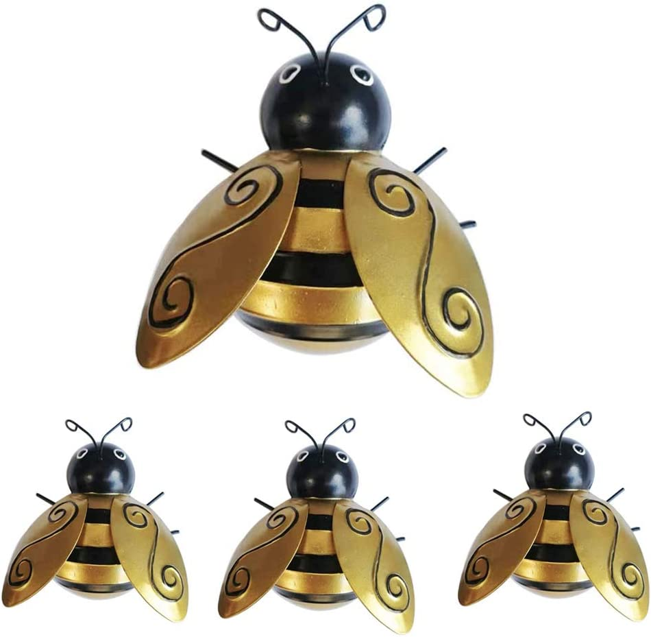 Bee Decor Metal Wall Art Decorations, Cute Yellow Wall Sculptures for Indoor Outdoor Home Garden (Set of 4)
