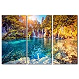 water photo - 3 Pieces Modern Canvas Painting Wall Art the Picture Turquoise Water and Sunny Beams in Plitvice Lakes National Park Croatia Landscape Mountain & Lake Print on Canvas Giclee Artwork Wall Decor