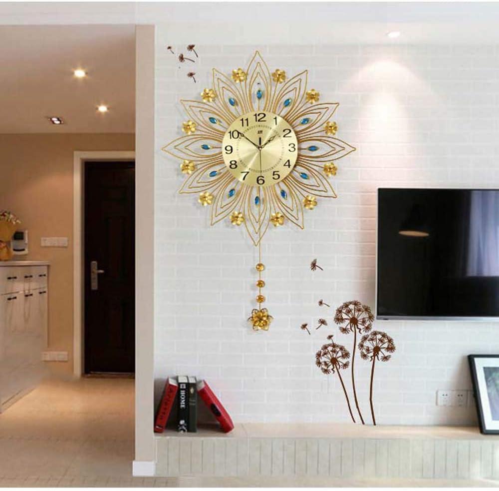 Reloj de Pared Decorativo, Modernos Cuadros de Pared silenciosos con Movimiento de péndulo con Pilas para Sala de Estar, Dormitorio y Oficina,Oro