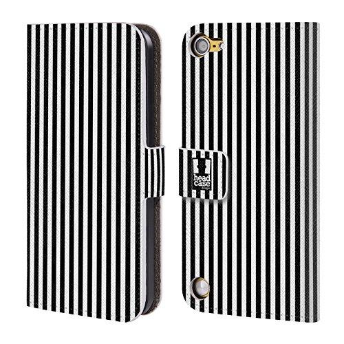 Head Case Nero Strisce Verticali Cover telefono a portafoglio in pelle per Apple iPod Touch 5G 5th Gen / 6G 6th Gen