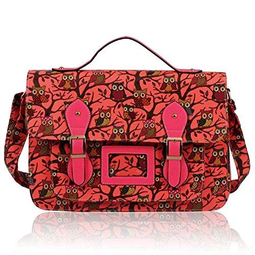 Womens Vibrant Colours Owl Print Satchel Crossbody Handbag (38cm X 27.5cm)