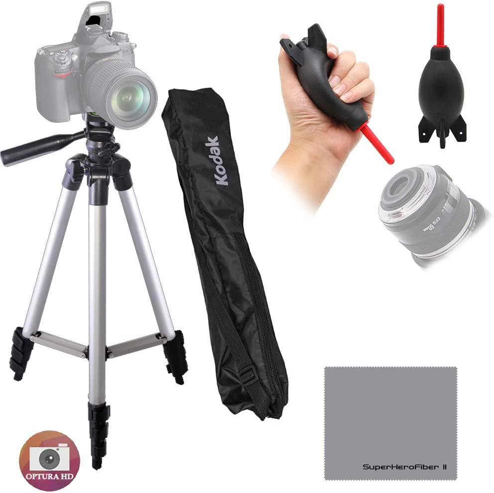 Rocket Air Blaster Fluid Pan Head with Bubble Level for All Nikon Canon Sony Samsung Fuji Olympus Cameras /& Camcorders Professional 50 inches Tripod with Bag Hero Microfiber Cloth