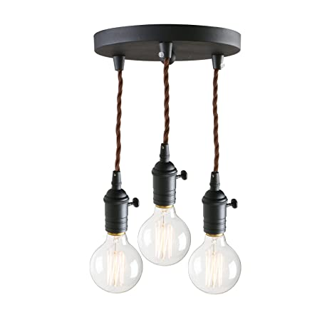 Marvelous Pathson 3 Lights Pendant Light Fixtures With Vintage Style Industrial Simple Home Ceiling Light Fixture Flush Mount With Adjustable Textile Cord Home Interior And Landscaping Ponolsignezvosmurscom