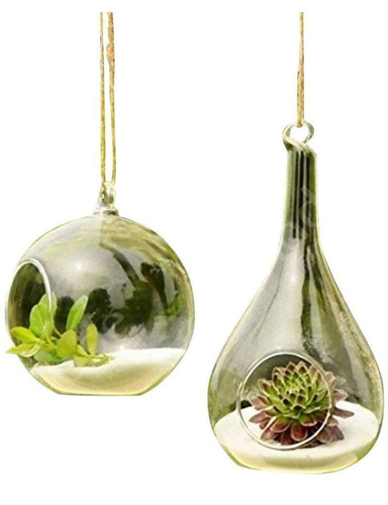 3BEES Pure Manual Blown Processed Hanging Terrarium Glass Vase Flower Plant Pot Container Planter for Home Decoration,Hand Blown Glass Vase Orb and Teardrop(Set of 2)