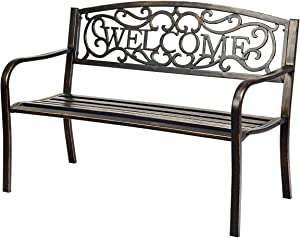 Giantex Garden Bench, Antique Metal Outside Bench w/Warm Welcome Pattern, Elegant Bronze Finish and Durable Metal Frame for Park Yard Porch Chair (Bronze)