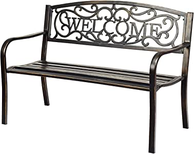 Giantex Garden Bench, Antique Metal Outside Bench w/Warm Welcome Pattern, Elegant Bronze Finish and Durable Metal Frame for Park Yard Porch Chair