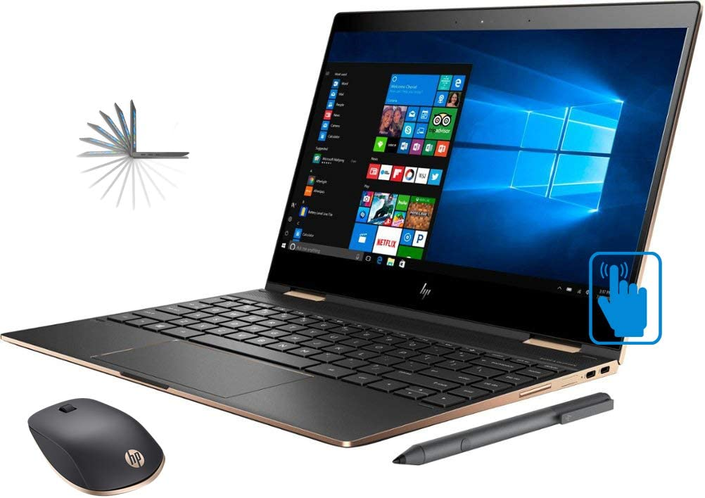 "HP Spectre x360-13t 2-in-1 Convertible Laptop (8th Gen Intel i7, 16GB RAM, 512GB PCIe SSD, 13.3"" FHD IPS Micro-Edge Touchscreen Corning Gorilla, Win 10 Home) Dark Ash with HP Z5000 Bluetooth Mouse"