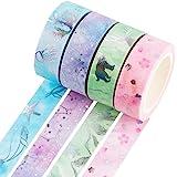 YUBBAEX Silver Washi Tape IG Style Laser Foil Masking Tape Set Decorative for Arts, DIY Crafts, Bullet Journal Supplies…