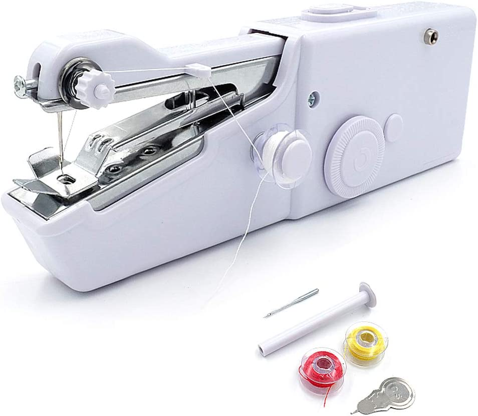 Moonmoonlala Mini máquina de coser de mano, portátil, eléctrica, herramienta doméstica (con enchufe de la UE), para tela, ropa, cortinas, bricolaje y uso de viaje, puntada rápida y práctica