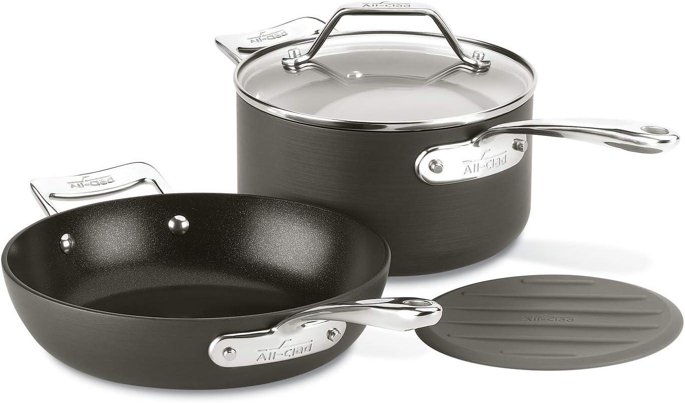 All-Clad H911S364 Essentials Nonstick Fry Sauce pan, 4-Piece, Grey