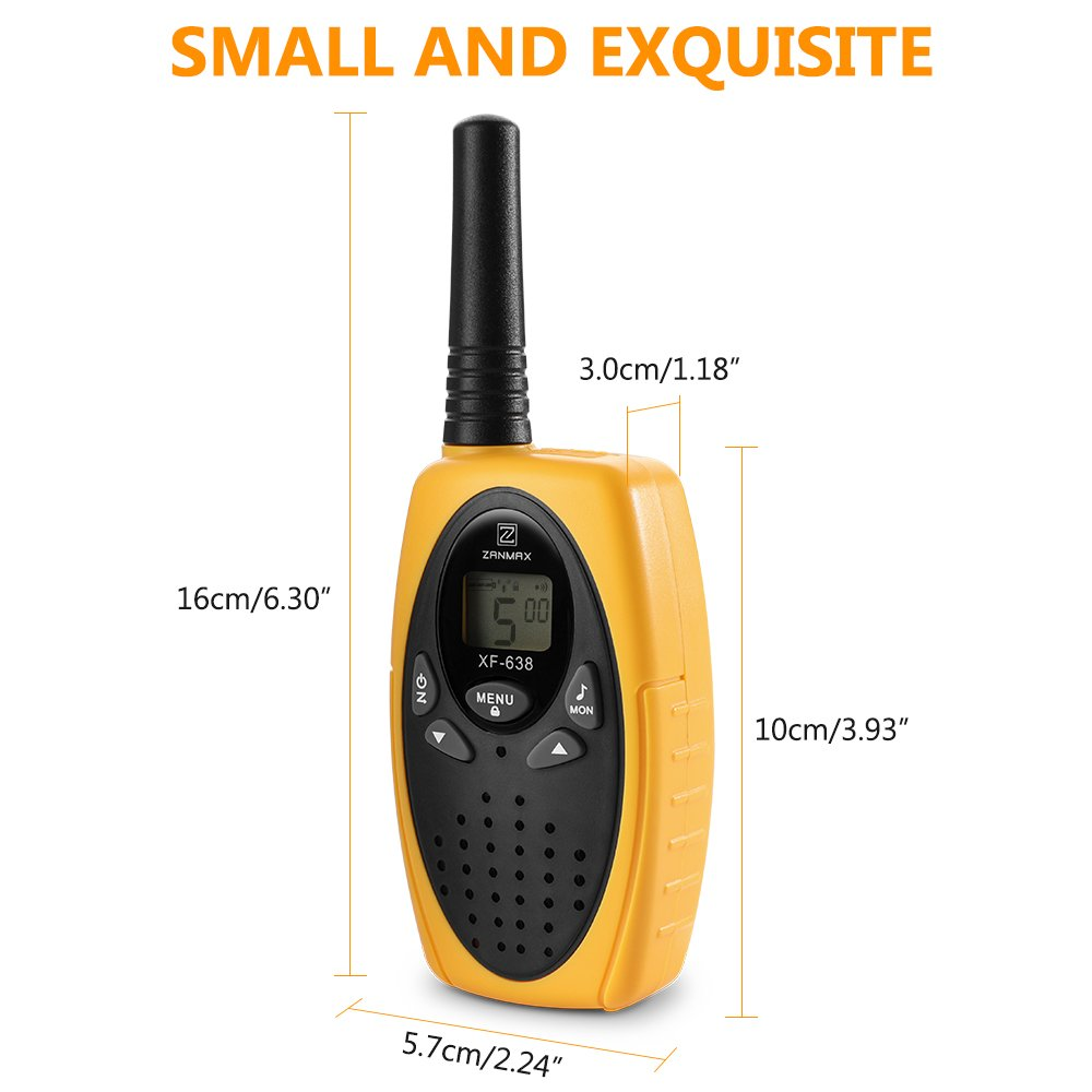 Walkie Talkies Two Way Radios, Handheld Talkies Talky Toys for Kids, 22 Channel 3KM(1.9MI) Quality Sound Interphone Long Range for Outdoor Camping Hiking, 2 Pack Yellow by Z ZANMAX (Image #5)