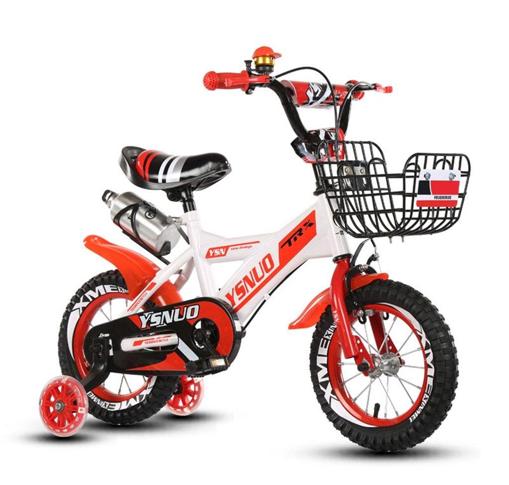 子供の自転車12|14|16|18インチアウトドアの子供ベイビーキッドマウンテンバイクフラッシュトレーニングホイールで2歳から10歳の男の子の女の子の贈り物|ウォーターボトル|鉄バスケット安全負荷50KG B0789DM7Y4 14 inches|赤 赤 14 inches