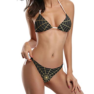 0bb98ce2f6 Amazon.com  LORVIES Women s Cobwebs Gold Bikini Swimsuit Tie Side ...