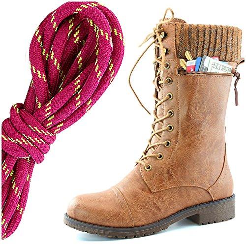 Dailyshoes Womens Style De Combat Lacets Cheville Bottine Bout Rond Militaire Knit Carte De Crédit Couteau Argent Portefeuilles De Poche, Chaud Rose Lime Tan Pu