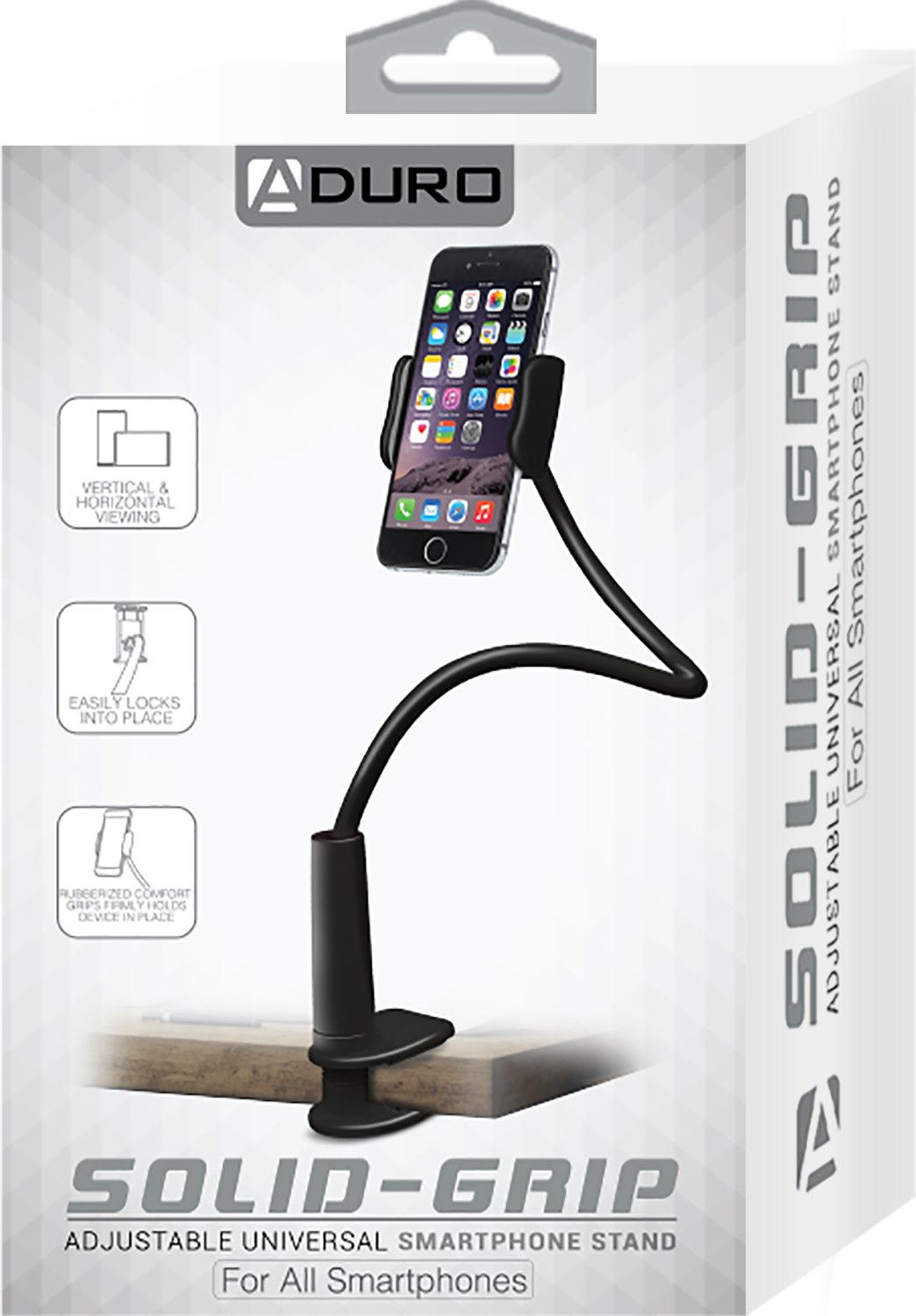 Aduro Solid-Grip 360 Adjustable Universal Gooseneck Smartphone Stand for Desk – Durable, Rubberized, Mount w/Holder (Black) by Aduro (Image #9)