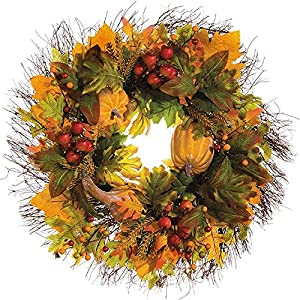 Floral Home Decor Fall Pumpkin Wreath with Leaves and Berries WR4997 114