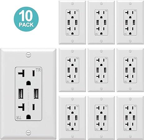 Lot Double Port USB Prise Murale Chargeur AC Power Récipient Outlet Plaque Panel USA