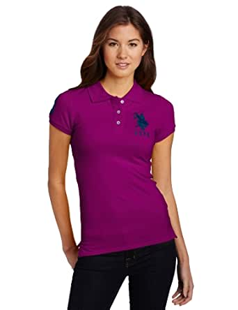 U.S. Polo Assn. Juniors Solid Polo With Big Pony, Purple Toybox/Navy, X-Large