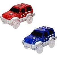 Amyove LED coche juguete niños eléctrico LED coche para Magic Tracks Shining Race Race Vehicle Toys Regalos para niños (No incluye pistas)