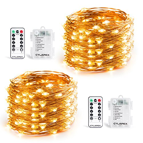 Twinkle Button (CYLAPEX 2 PACK Fairy Lights Battery Operated String Lights Outdoor, Firefly Lights 8 Modes 16.4ft 50 LED Copper String Lights Small Twinkle Lights with Remote for Christmas Bedroom Wedding Warm White)
