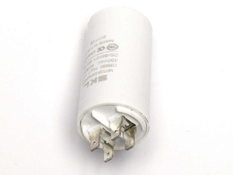 Anschlu/ß /über Flachstec verwendbar als Betriebskondensator oder Anlaufkondensator MKP Anlasskondensator Motorkondensator 14/µF 450VAC aus selbstheilender metallisierter Polypropylenfolie im Kunststoffbecher Kondensator 14,0uF CBB60