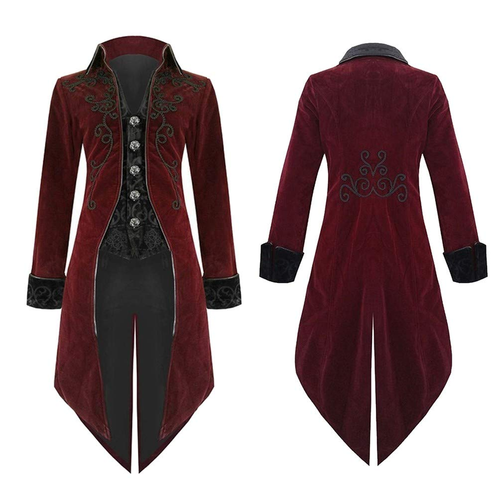 Strickjacke Mantel Herren Sonnena Mä nner Mens Slim Fit Frackjacke Mode Cardigan Lange Gothic Steampunk Uniform Kostü m Trenchcoat Solide Jacke Party Outwear Mantel