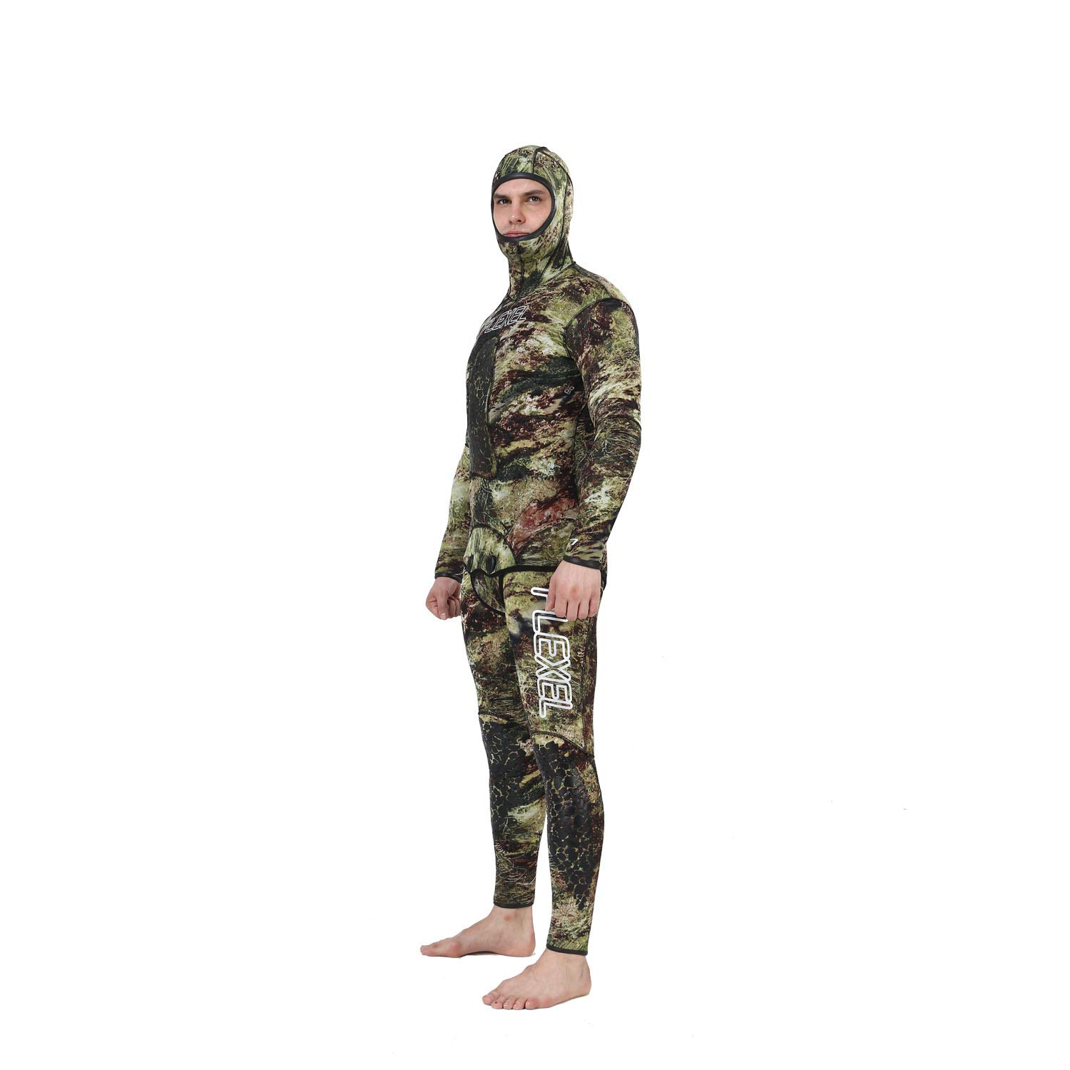 Flexel Camo Spearfishing Wetsuits Men Premium Camouflage Neoprene 2-Pieces Hoodie Freediving Fullsuit for Scuba Diving Snorkeling Swimming (7mm Grass camo, Large) by Flexel (Image #7)
