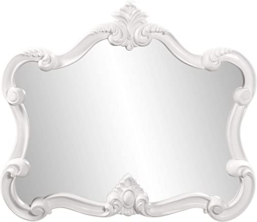Howard Elliott Veruca Rectangular Ornate Wall Mirror, Vanity, Glossy White Lacquer, 28 x 32 Inch