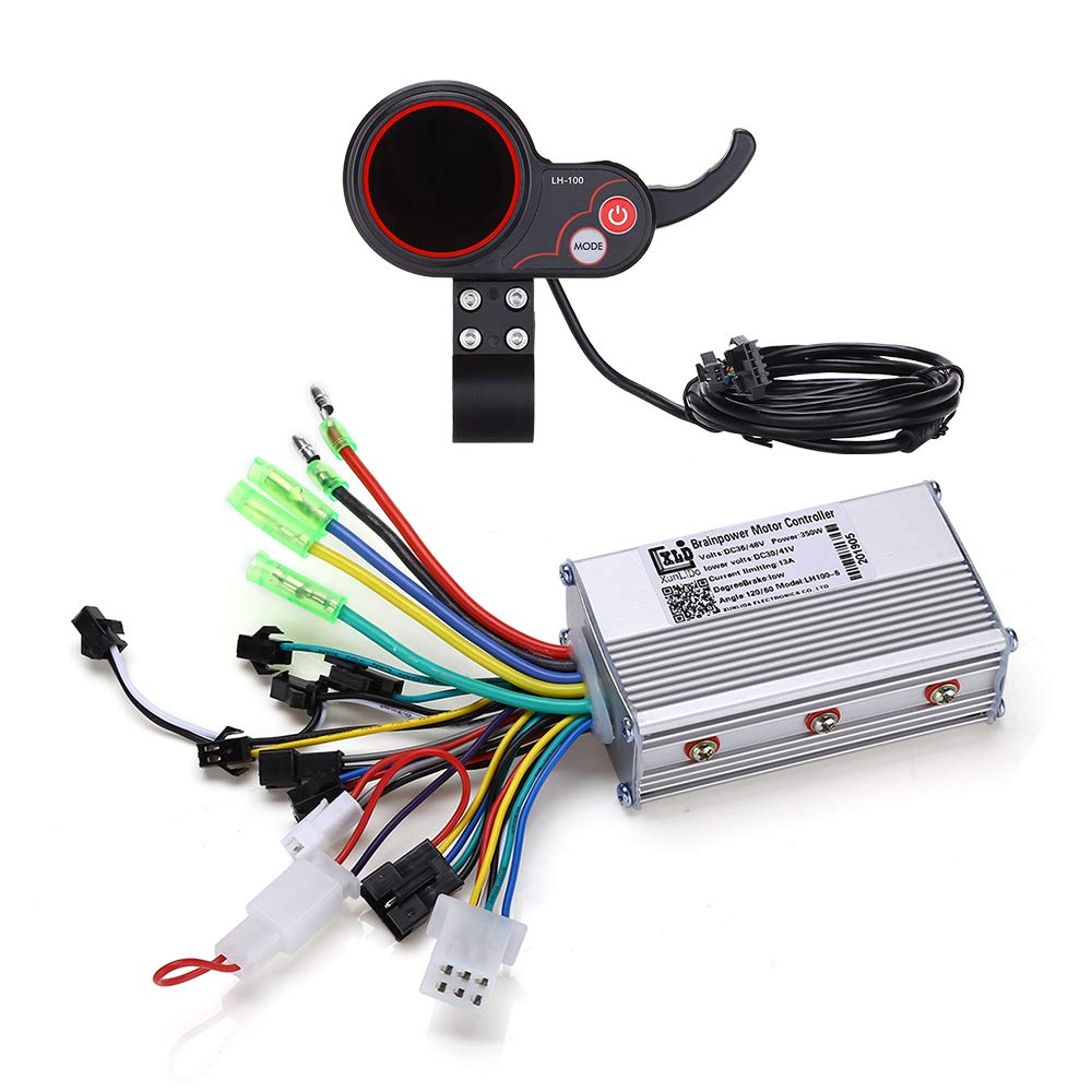 WonVon Motor Brushless Controller, 36V 48V 350W Electric Scooter Mountain Bike Speed Controller with LCD Display Panel