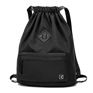 2ea5dc61e Risefit Drawstring Bags PE Bags, Waterproof Gym Sack Daily Rucksack Book  Bags with Large Capacity for Sports School Travel Swim Bags Men, Women and  Students