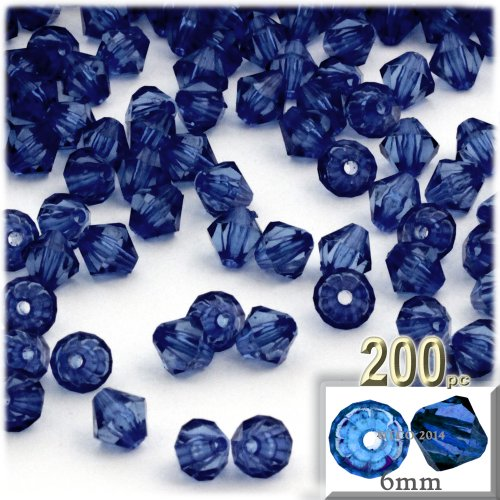 The Crafts Outlet, 200-pc Acrylic Bicone Beads, Faceted, 6mm, Royal (Acrylic Faceted Bicone Beads)