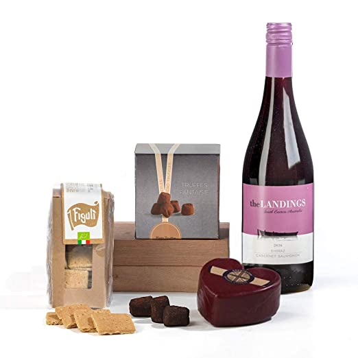 Heart Shaped Cheese Wine Chocolate Hamper Box Gift Free Uk Delivery