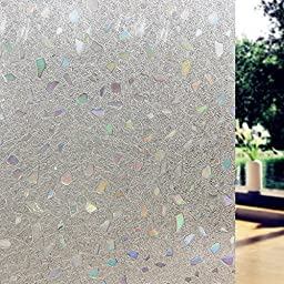 Prismoon No Glue 3D Static Decorative Frosted Privacy Window Films for Glass 23.6 x 78.7inch (60 X 200cm) Upgrade Version for Home Kitchen Office Piece Pattern