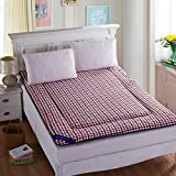 Yellow star Quilted foldable cushion mats,Tatami mattress student dorm futon mattress topper portable sleeping pad thin bed protection pad washable-A 135x200cm(53x79inch)