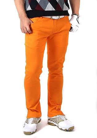 18245c87bf70a9 【コモンゴルフ】 COMON GOLF メンズ スリット 入り ローライズ ストレッチ ゴルフ パンツ L74 オレンジ