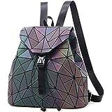 Nevenka Geometric Lingge Luminous Women Backpack Purse Holographic Reflective Flash Colorful Daypacks GL7316