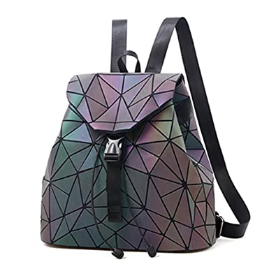 Nevenka Geometric Lingge Luminous Women Backpack Flash Colorful Travel Gym  Drawstring Bags Rucksack (Colorful- 6fdcce59d7