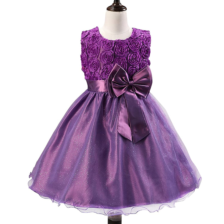 Vimans? Purple Flower Girl Wedding Bridesmaid Dresses with Bowknot, Child 4