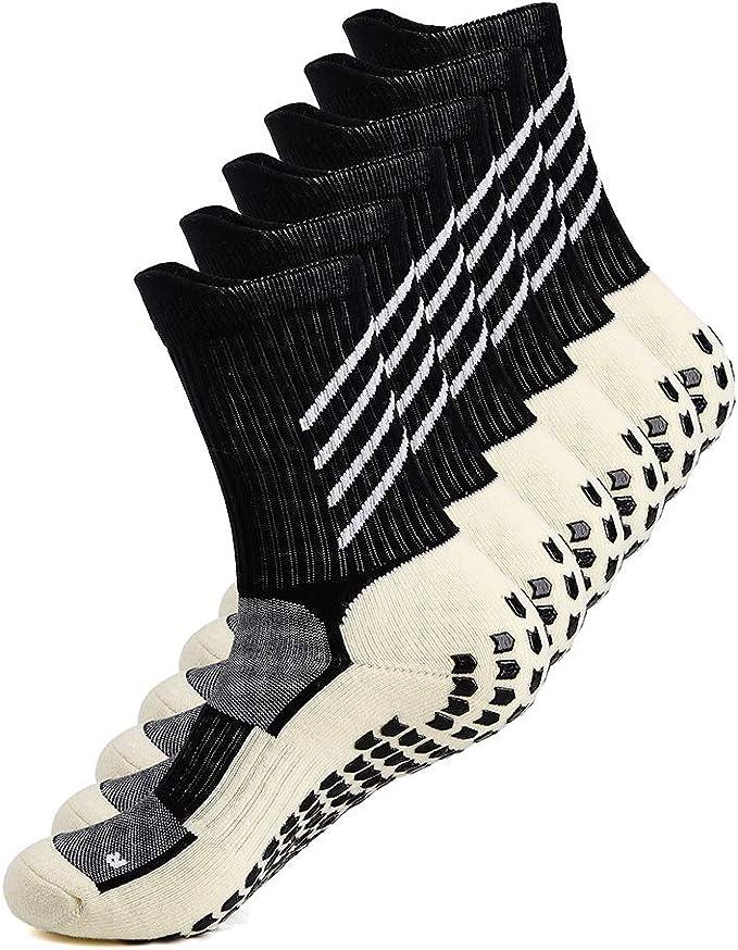 1//2Pairs Men/'s Anti Slip Football Socks Athletic Long Sock Absorbent Sports Grip