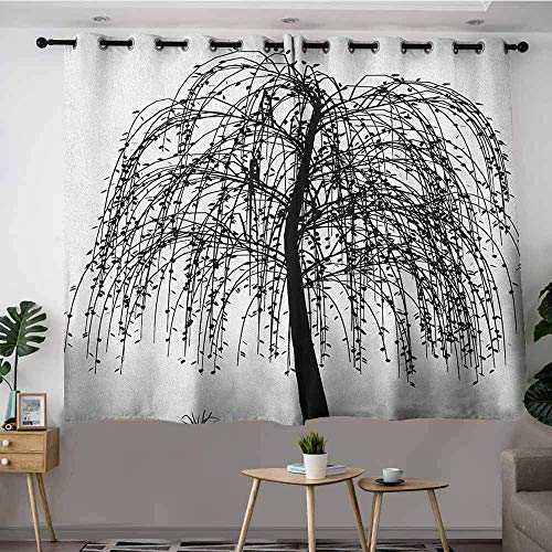 Prairie Velvet Natural Fabric - Blackout Curtains,Black and White Monochrome Barren Tree Design Leafless Branches Autumn Themed Nature Image,Great for Living Rooms & Bedrooms W55 x L45