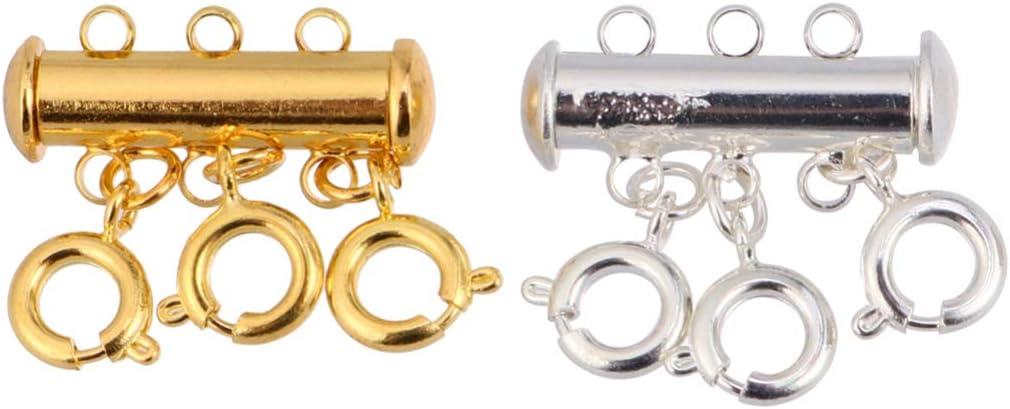 Silver 3 Reihen Milisten Verschlusskettchenverbindungsst/ück-Schieberohrverschl/üsse Des Dias 4Pcs f/ür /Überlagertes Armbandhalskettenschmucksachehandwerk Golden