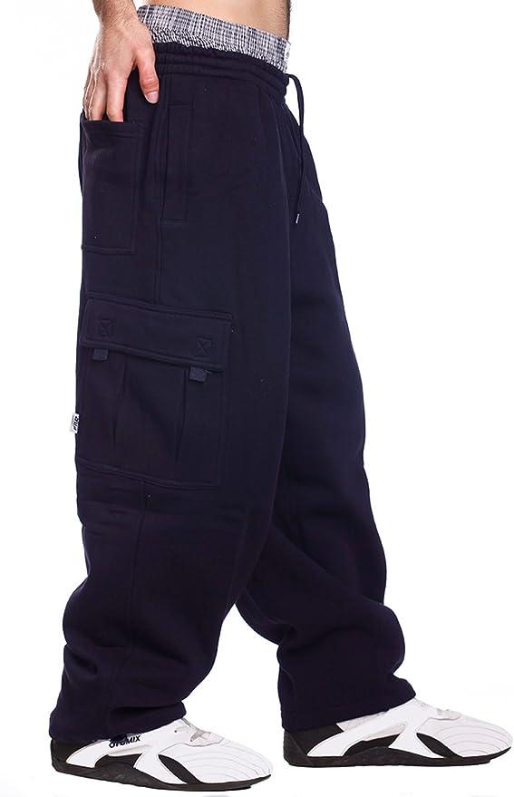 Sebaby Men Fleece Thick Closed-Bottom Warm Waistband Stretchy Cargo Pant