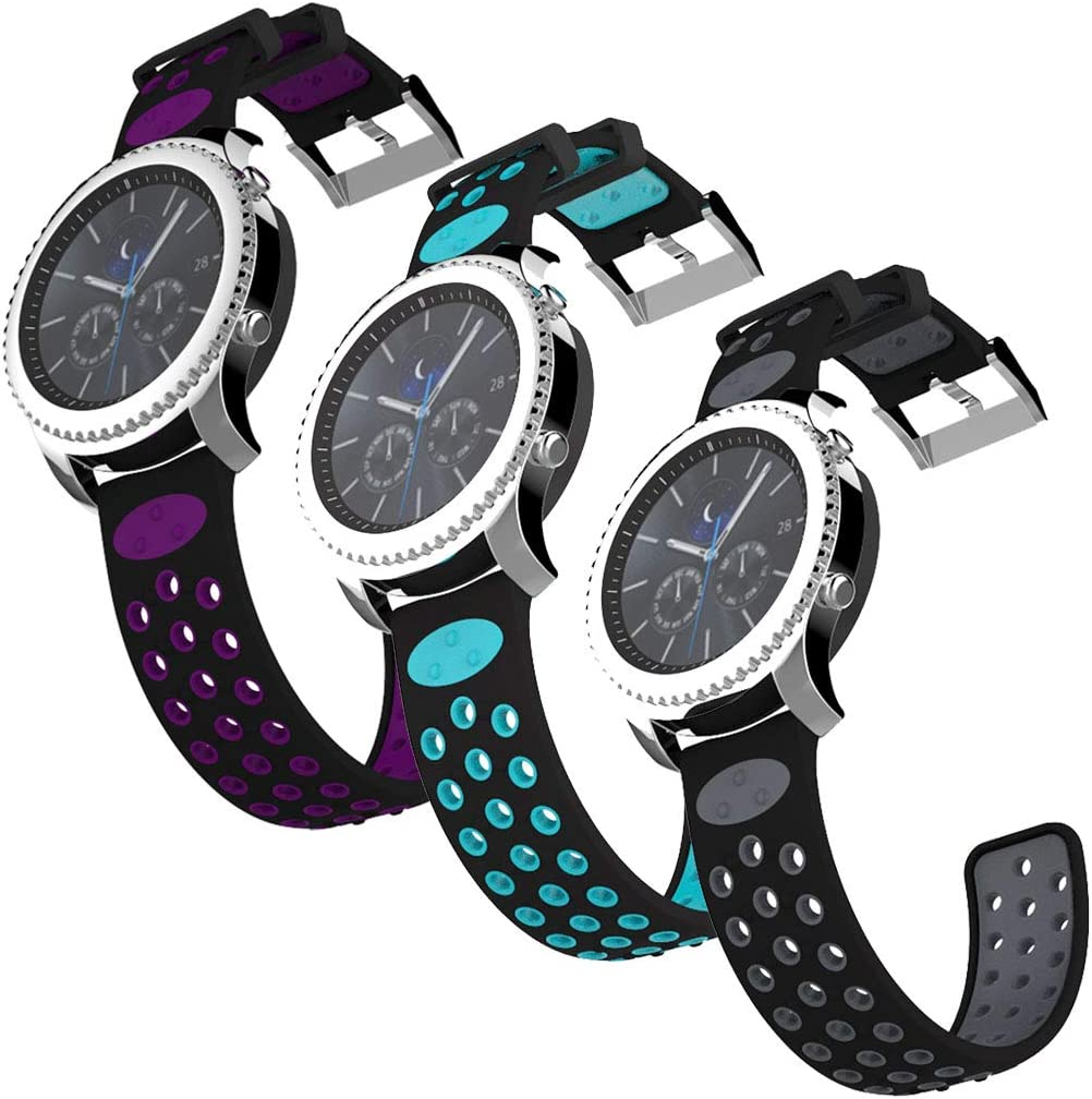 IMPAWFAN 22mm Watch Bands Compatible for Samsung Gear S3 Frontier & Classic, Galaxy Watch 46mm, Silicone Sport Wristband Quick Release Replacement Strap for Smart Watch-3 Colors B