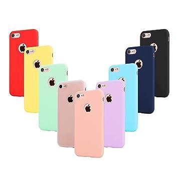 Leathlux 9X Funda iPhone 8 Silicona, Carcasa Ultra Fina TPU Protector Flexible Cover Funda para Apple iPhone 8 - Rosa, Verde, Púrpura, Azul Cielo, ...