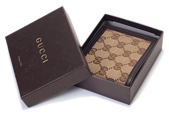 f6a31a3fee8 Gucci Original GG Canvas Leather Men s Bifold Wallet 260987 9903 Brown Beige