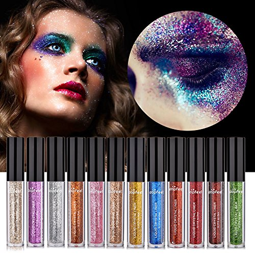 MS.DEAR Glitter Liquid Eyeliner Eyeshadow, 12 Colors Long Lasting Waterproof Sparkling Eyeliner Eye Shadow by MS.DEAR