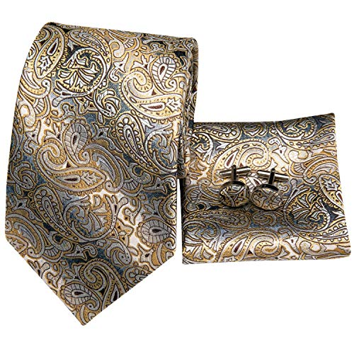 Hi-Tie Men Champagne Gold Black Paisley and Floral Tie Handkerchief Necktie with Cufflinks and Pocket Square Tie Set